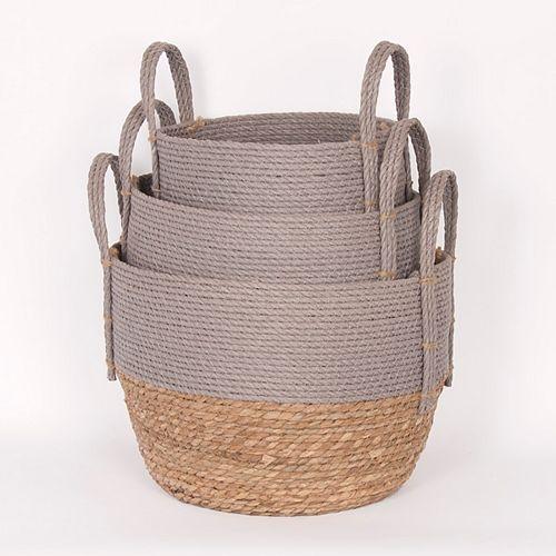 Set of 3 White/Natural Straw Baskets