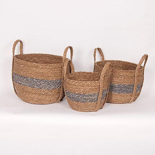 Set of 3 Blue/Natural Straw Baskets