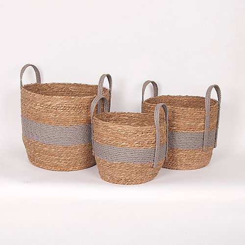 Set of 3 Grey Handles Straw Baskets