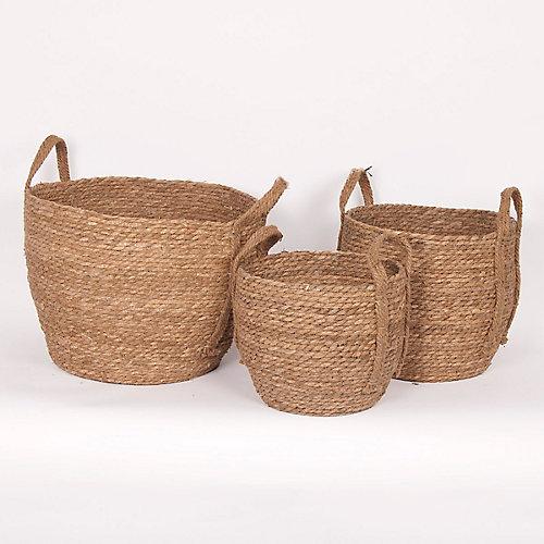 Set of 3 Natural Straw Baskets