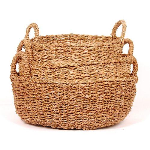 3 Piece Seagrass Shallow Round Basket Set