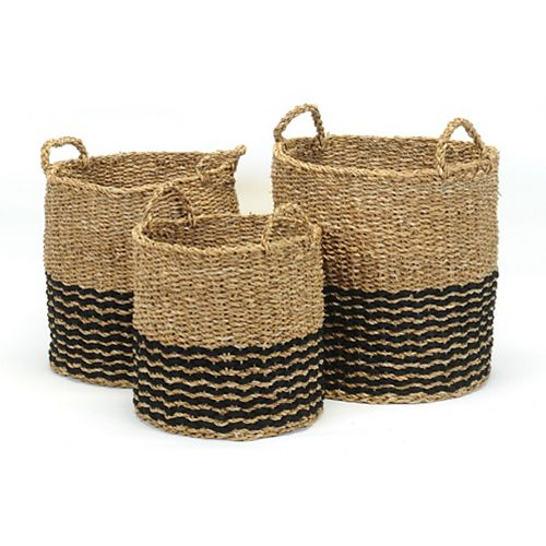 3 Piece Black and Natural Seagrass Basket Set