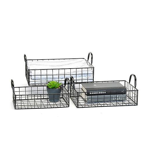 Set Of  3 Black Wire Decor Trays