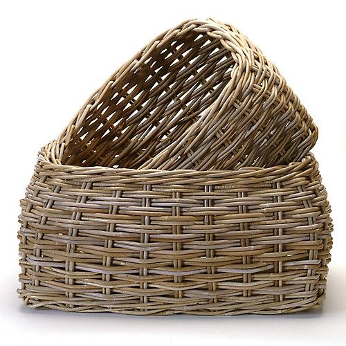 Rattan 2 Piece Basket Set