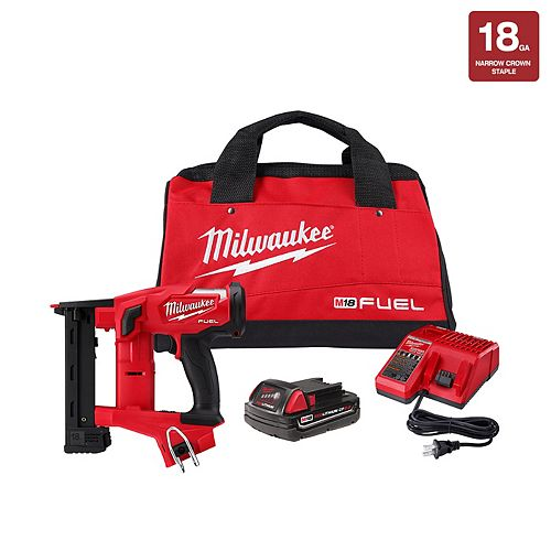 M18 FUEL 18V Li-Ion Brushless Cordless 18-Gauge 1/4 -inch Narrow Crown Stapler Kit w/ Battery 2Ah