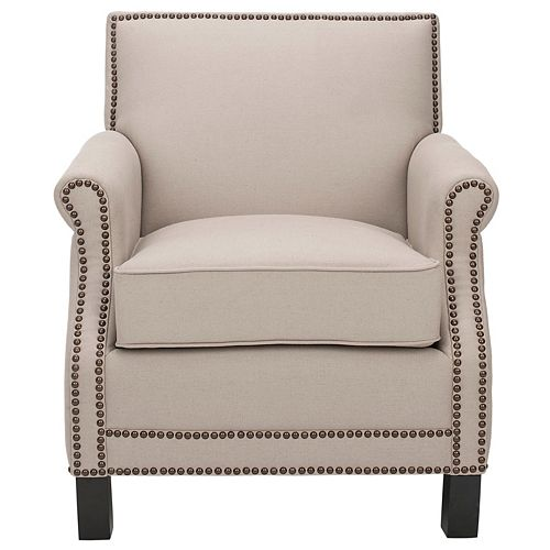 Easton Linen Club Chair in Taupe/Java