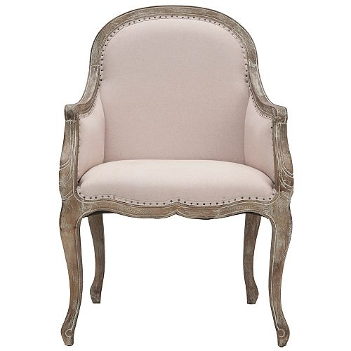 Esther Linen Arm Chair in Taupe/Oak