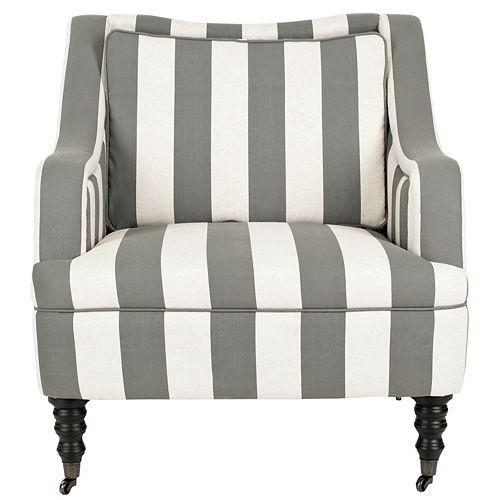 Homer Polyester/Linen Arm Chair in Blue/White/Black