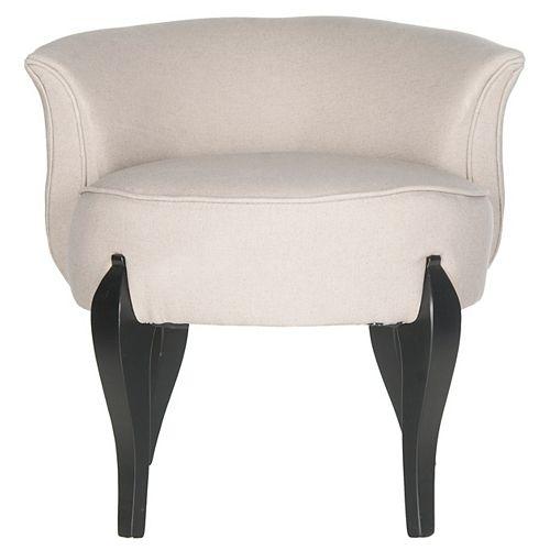 Mora Linen Vanity Chair in Taupe/Black