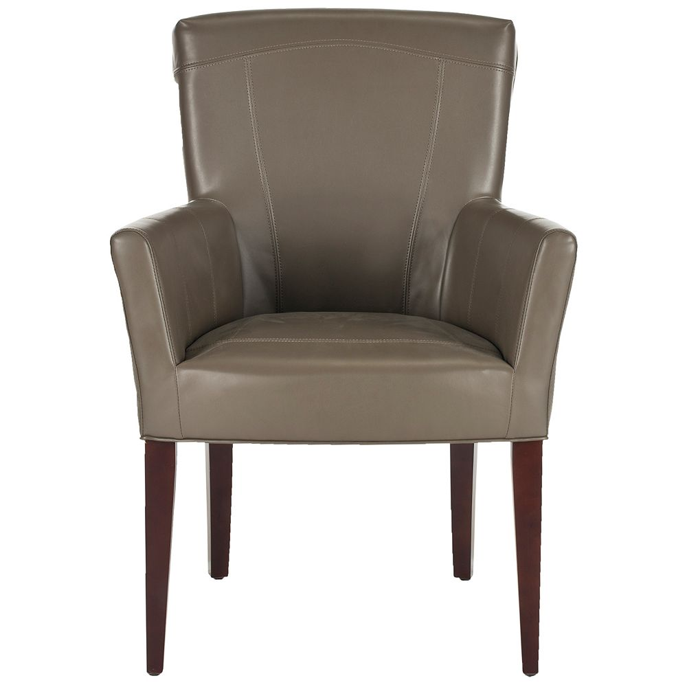 Safavieh Dale Bicast Leather Arm Chair in Clay/Mahogany