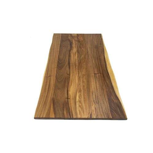 Hardwood Reflections 72 inch Wide Plank Wood Island with Two Live Edges in Acacia