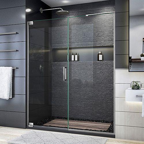 DreamLine Elegance Plus 58-58 3/4 inch W x 72 inch H Frameless Pivot Shower Door in Brushed Nickel
