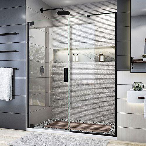 DreamLine Elegance Plus 58-58 3/4 inch W x 72 inch H Frameless Pivot Shower Door in Satin Black