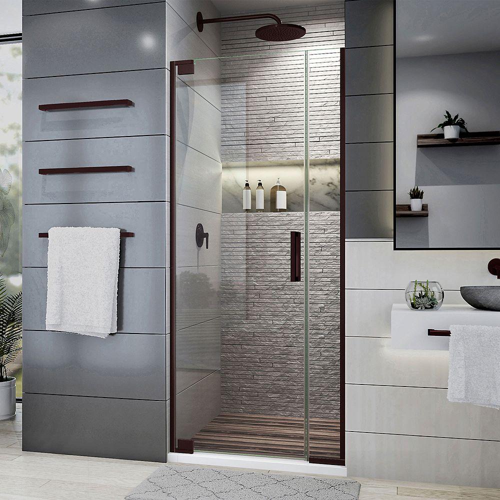 DreamLine Elegance Plus 86.36-88.27 cm. W x 182.88 cm. H Porte de Douche sans cadre en Bronze Huilé