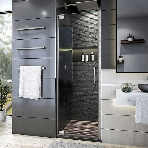 DreamLine Elegance Plus 34-34 1/2 inch W x 72 inch H Frameless Pivot Shower Door in Brushed Nickel