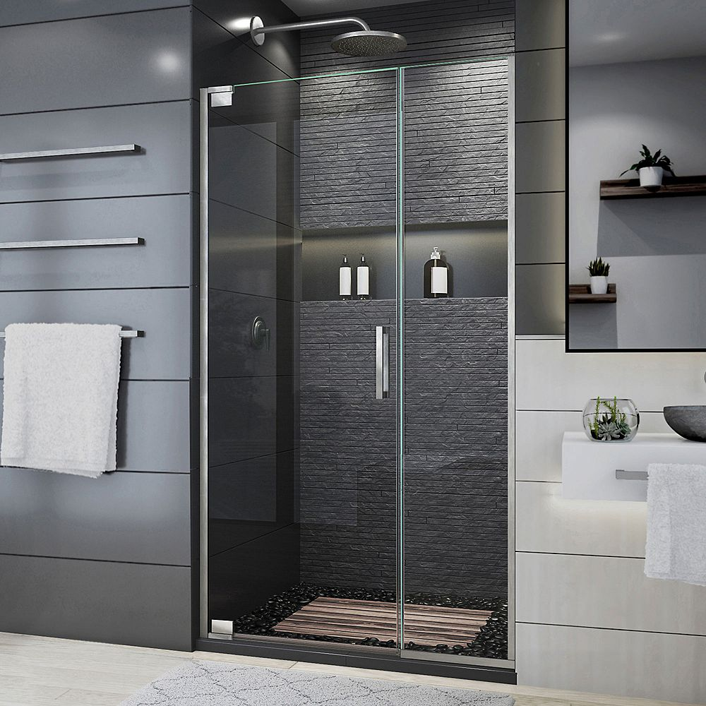 DreamLine Elegance Plus 39 3/4 - 40 1/2 inch W x 72 inch H Pivot Shower Door in Brushed Nickel