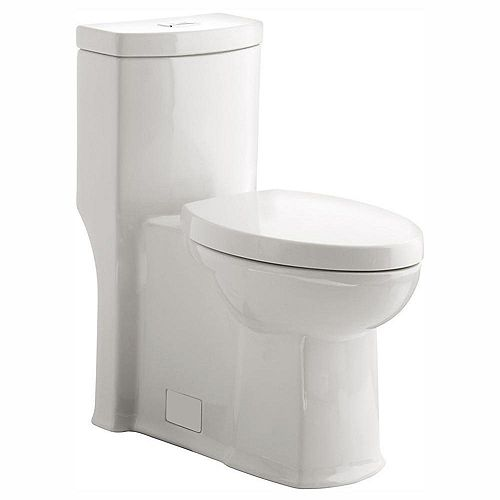 Boulevard Dual Flush Right Height Elongated One Piece Toilet in White