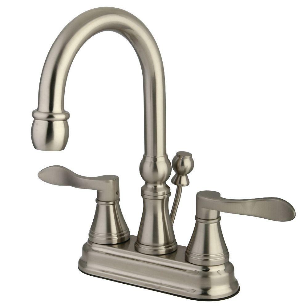 Kingston Brass Robinet de lavabo Avignon monopièce, deux poignées avec entraxe de 4 po, nickel brossé