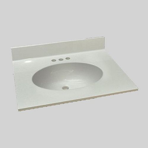 Malibu 25 inch W x 22 inch D Marble Centre Basin Vanity Top in Antique White