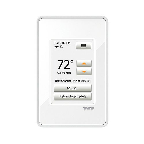 Ditra-Heat 120/240 V Programmable Touchscreen Thermostat in Bright White
