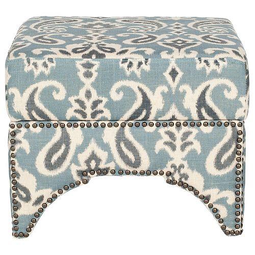 Safavieh Declan ottoman de rangement en bleu, gris et blanc