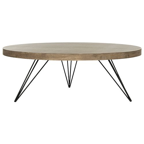 Mansel Chêne Clair / Table Basse Ronde Noir
