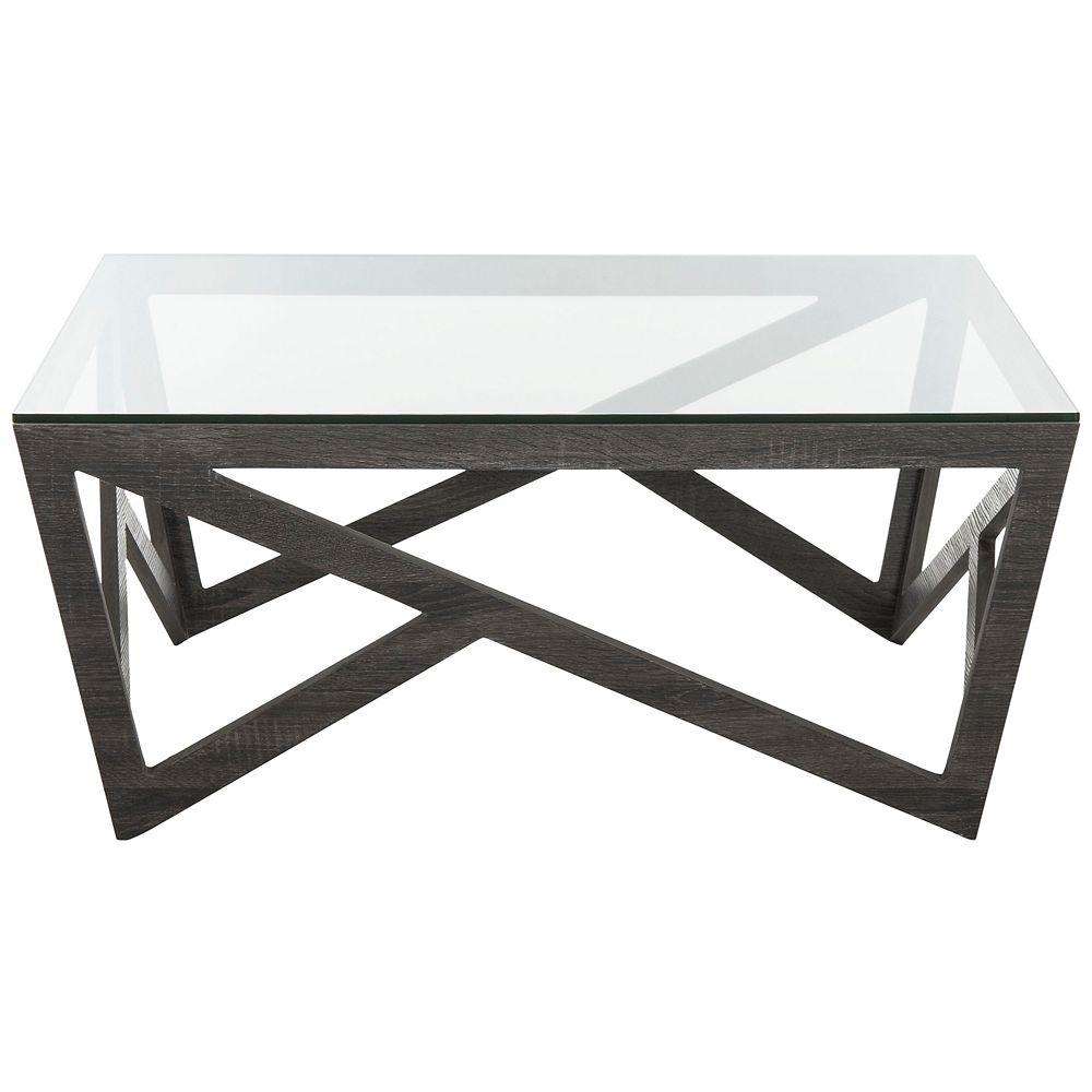 Safavieh Ralston Mid Century Glass Top Dark Gray Coffee Table The Home Depot Canada