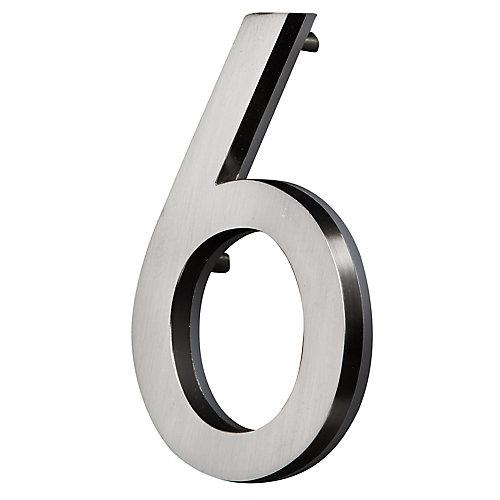 Chiffre de Maison Rétroéclairé à DEL - Nickel Satiné #6