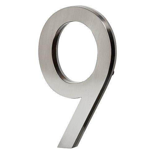 LED Backlit House Number - Satin Nickel #9