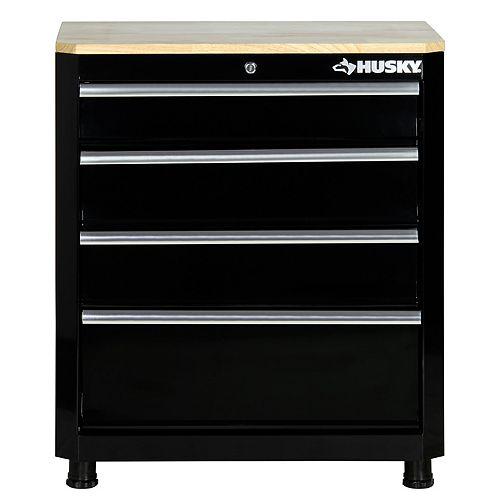 Edsal 30 inch. H x 28 inch. W x 18 inch. D 4-Drawer Welded Base Cabinet in Black