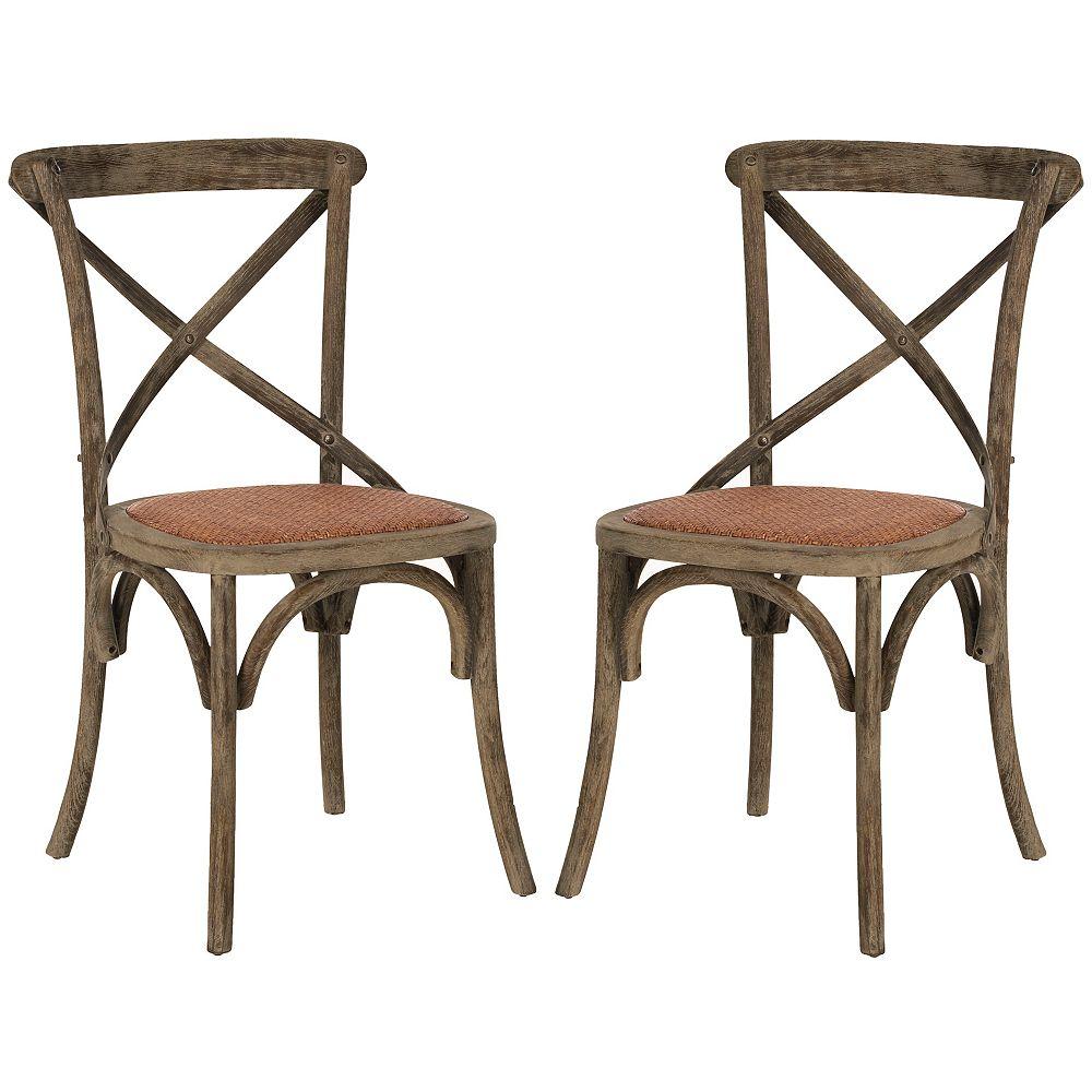Safavieh Franklin Affligée Chaise Coloniale à Manger en Noyer (ensemble de 2)