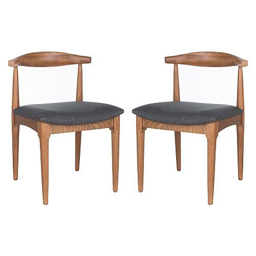 Lionel Brown/Dark Grey Retro Dining Chair (Set of 2)