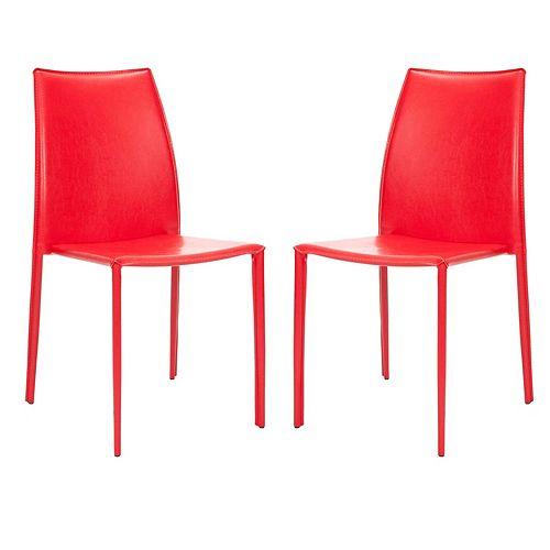 Safavieh Korbin Red Bonded Leather Side Chair (Set of 2)