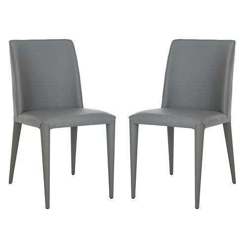 Safavieh Garretson Grey Leather Side Chair (Set of 2)
