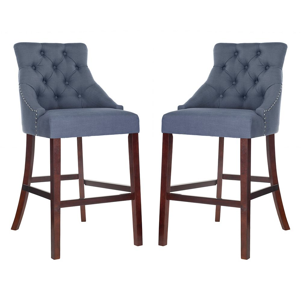 Safavieh Eleni 45 in. Navy Bar Stool (Set of 2)