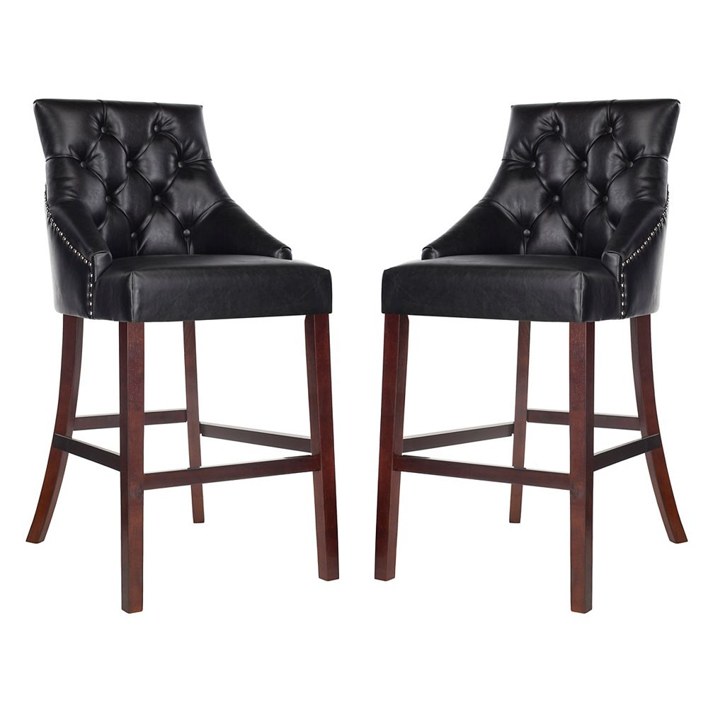 Safavieh Eleni 45 in. Black Bar Stool (Set of 2)