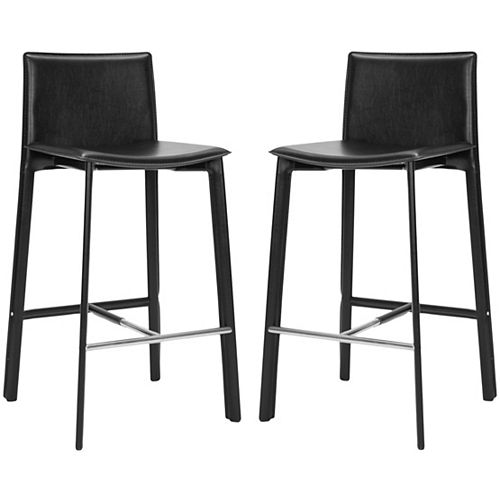 Safavieh Janet 39.4 in. Black/Chrome Bar Stool (Set of 2)
