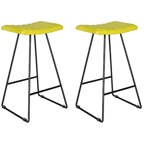 Safavieh Akito 30 in. Green/Black Bar Stool (Set of 2)
