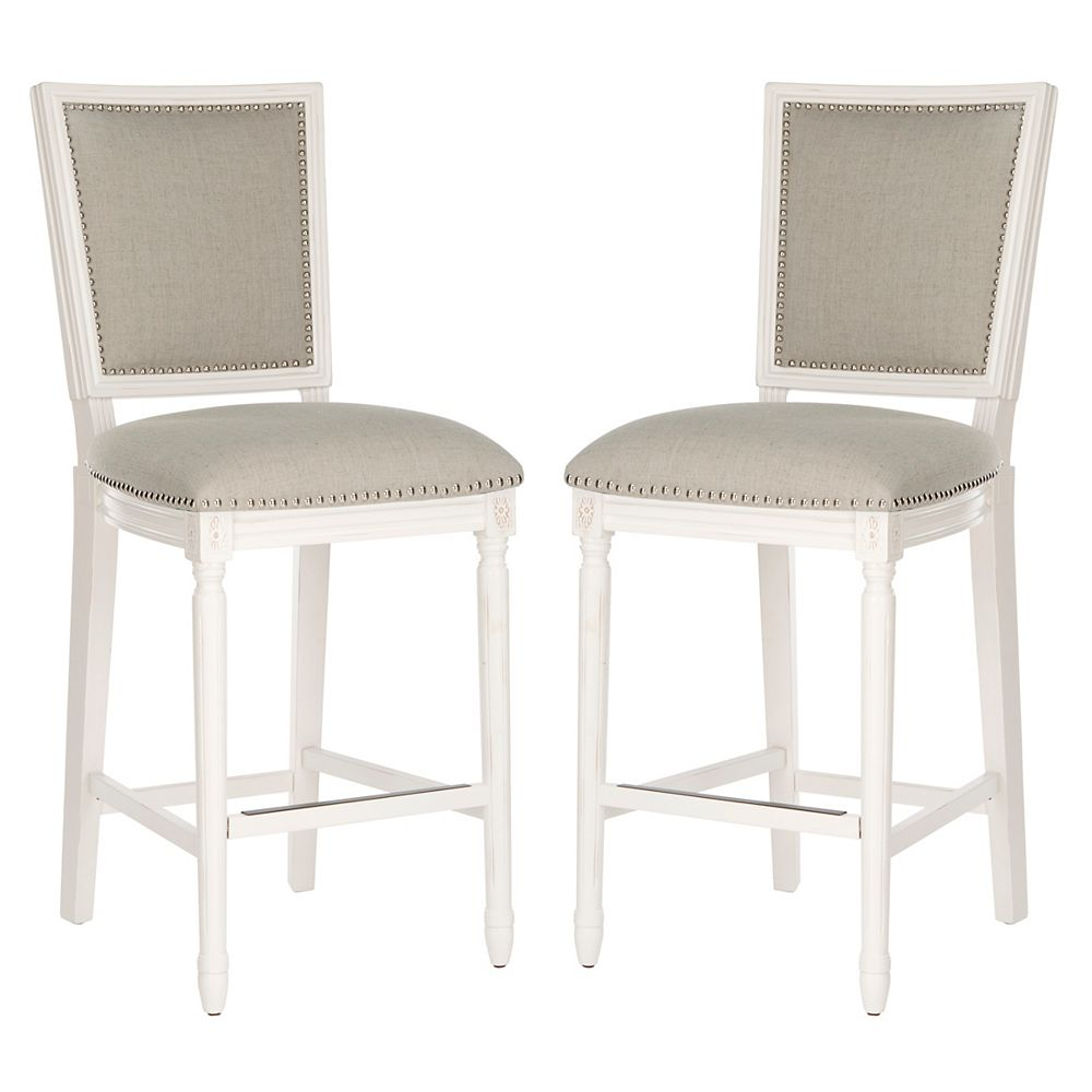 Safavieh Buchanan 47.25 in. Light Gray/Cream/Distressed White Bar Stool (Set of 2)