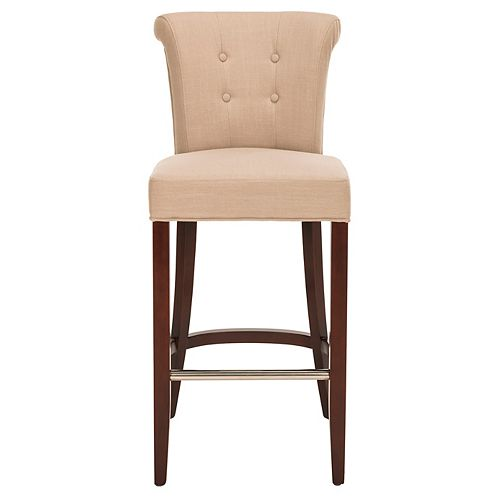 Safavieh Addo 43.7 in. True Taupe/Cherry Mahogany Bar Stool