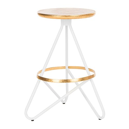 Safavieh Galexia 24 in. White/Gold Top Counter Stool