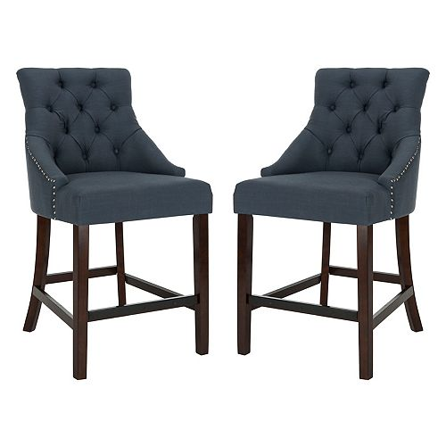 Eleni 41 in. Navy Counter Stool (Set of 2)