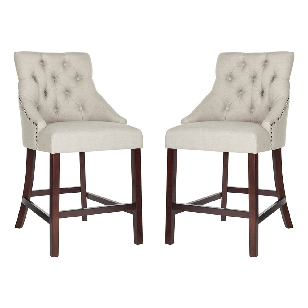 Safavieh Eleni 41 in. Light Gray Counter Stool (Set of 2)