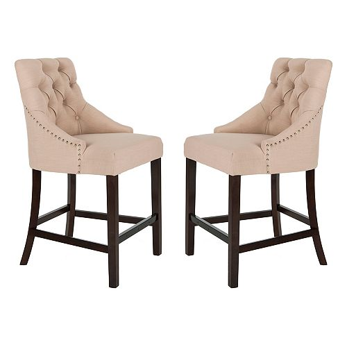 Eleni 41 in. Beige Counter Stool (Set of 2)