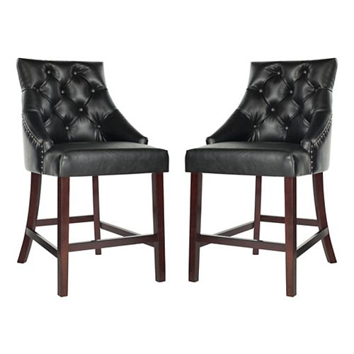 Eleni 41 in. Black Counter Stool (Set of 2)
