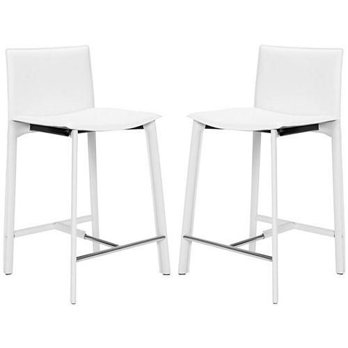Safavieh Janet 34.2 in. White/Chrome Counter Stool (Set of 2)