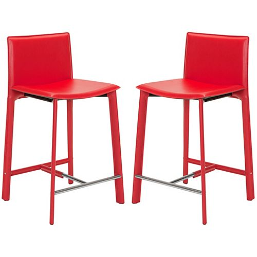 Safavieh Janet 34.2 in. Red/Chrome Counter Stool (Set of 2)