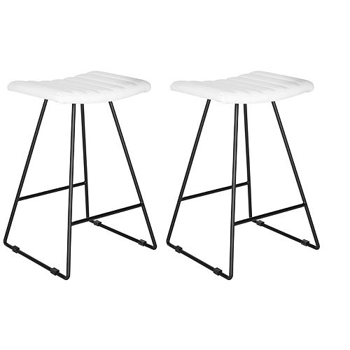 Safavieh Akito 26 in. White/Black Counter Stool (Set of 2)