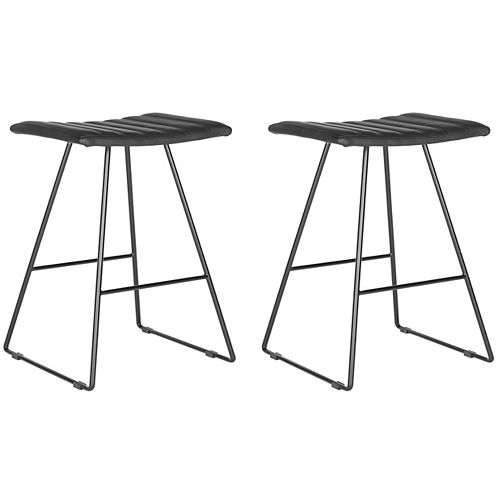 Akito 26 in. Black/Black Counter Stool (Set of 2)