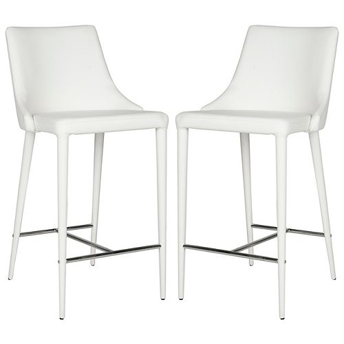 Summerset 37.4 in. White /Chrome Counter Stool (Set of 2)